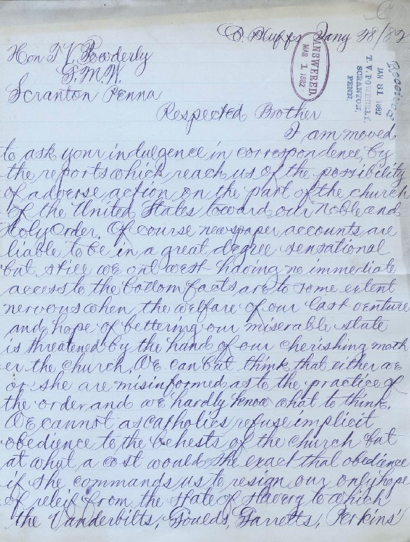 Letter to Terence V. Powderly, January 28, 1882