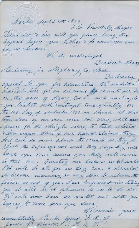 Letter to Terence Powderly, September 29, 1878