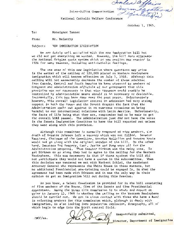 Letter from John McCarthy to Msgr. Paul Tanner, October 1, 1965