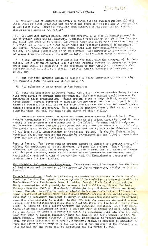 """John Burke, """"Immediate Steps to be Taken,"""" NCWC Memo, December 18, 1920"""