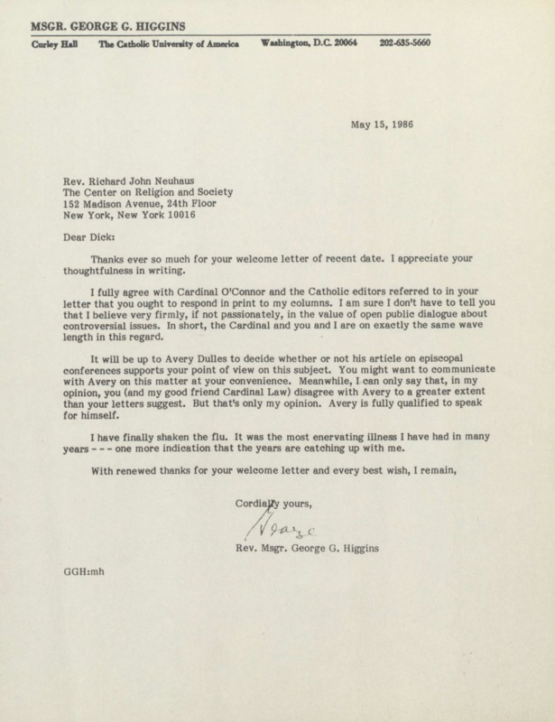 George Higgins to Richard Neuhaus, 5-15-1986 (13)