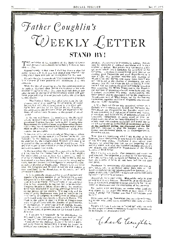 """Father Coughlin's Weekly Letter: Stand By!"" <em>Social Justice</em>, June 12, 1936"