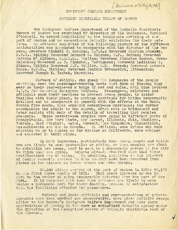 """Immigrant Welfare Department,"" Catholic Charitable Bureau of Boston, May 16, 1921"