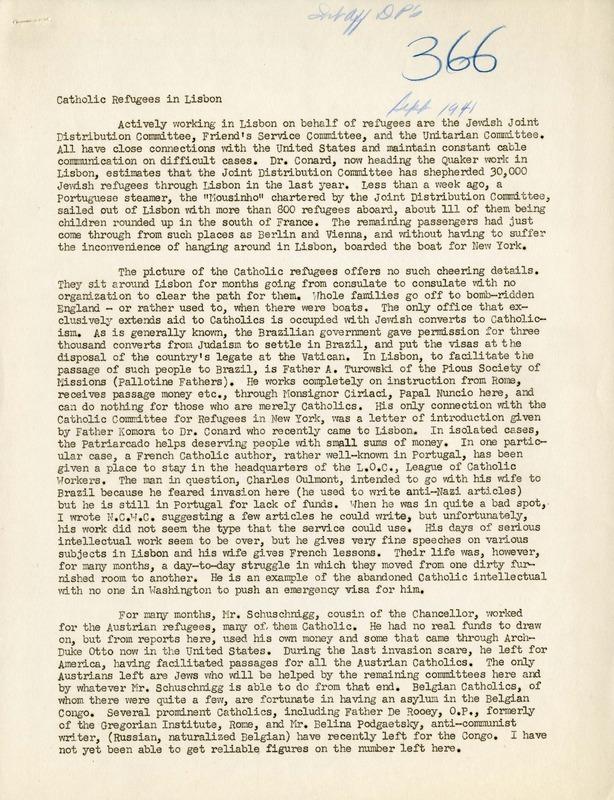 Memorandum on Catholic Refugees in Lisbon