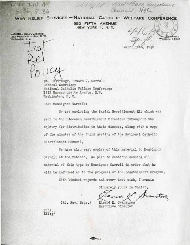 Parish Resettlement Kit, March 16, 1948