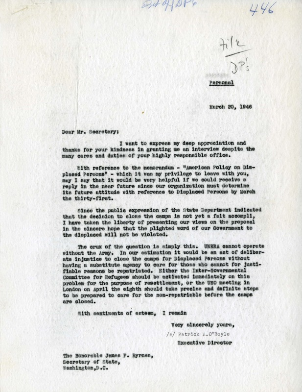 Letter from O'Boyle to Byrnes, March 20, 1946