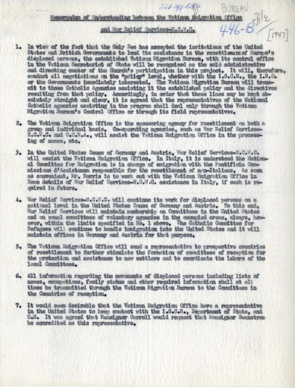 Memorandum of Understanding between the Vatican Emigration Office and War Relief Services- NCWC