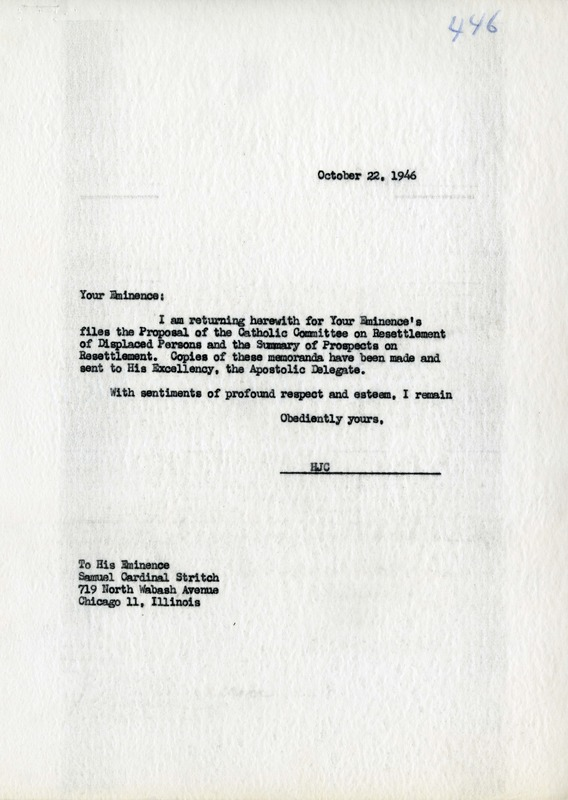 Letter from General Secretary Carroll to Apostolic Delegate Cicognani on a Proposal for a Catholic Committee on Resettlement of Displaced Persons