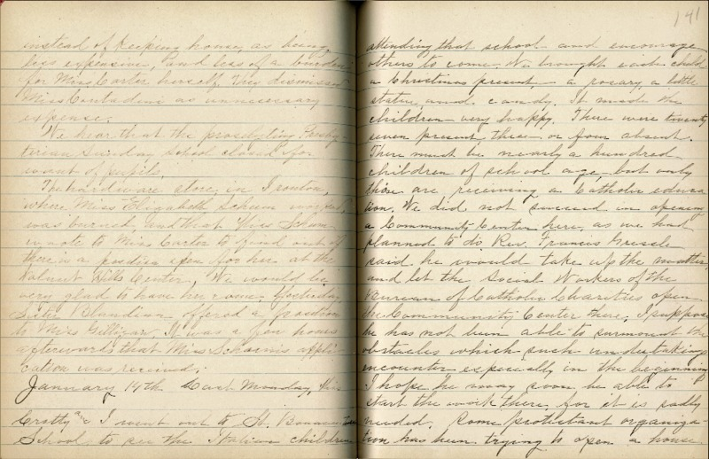 Justina Segale Journal Entry, January 14, 1920  (Document 21)