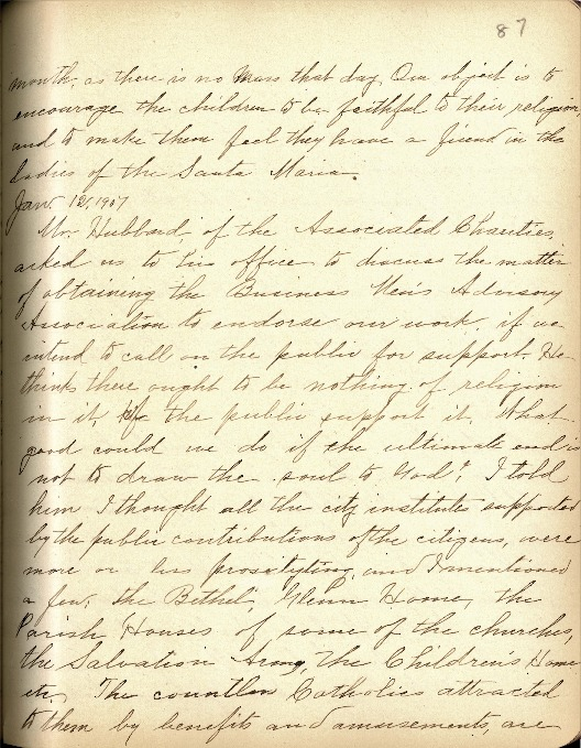Justina Segale Journal Entry, January 12, 1907  (Document 12)