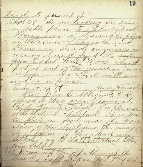 Justina Segale Journal Entry, October 9, 1897 (Document 9)