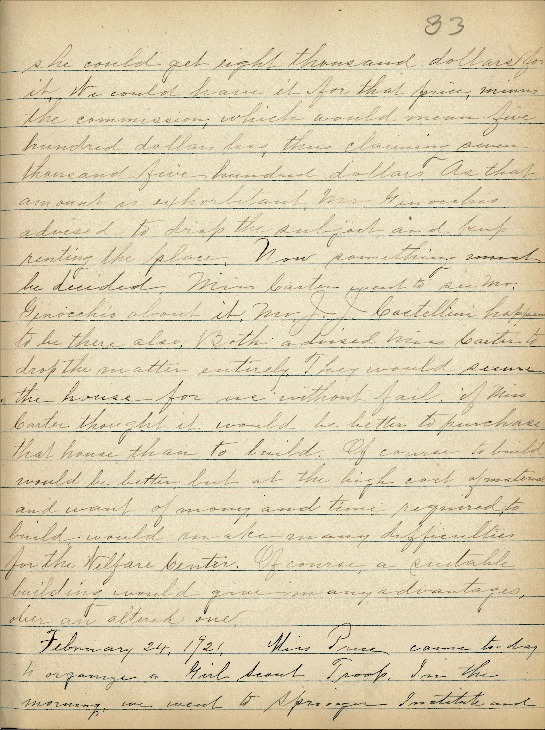 Justina Segale Journal Entry, February 8 and 24, 1921  (Document 22)