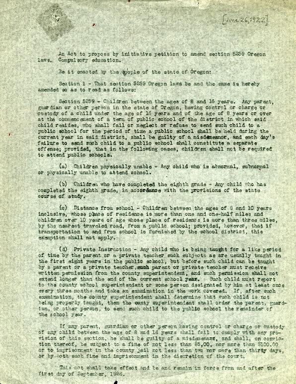 Compulsory Education Bill, November 1922