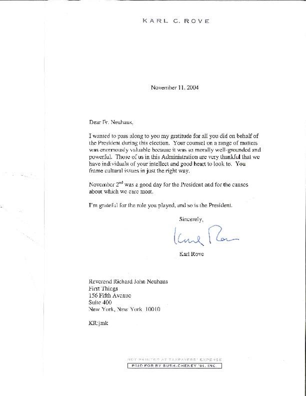Karl Rove to Richard Neuhaus, 11/11/2004