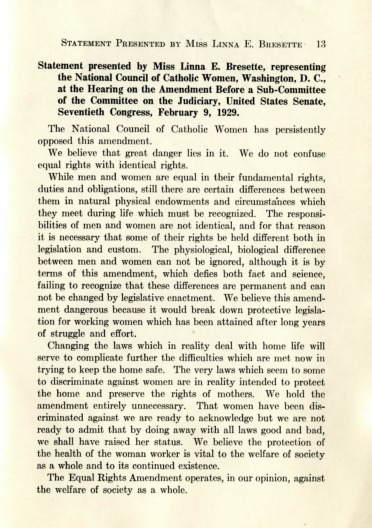 Bressette Statement Equal Rights 1929
