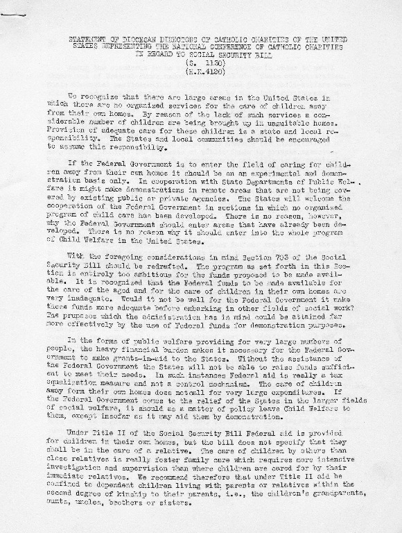 Statement in Regard to the Social Security Bill, ca. 1935