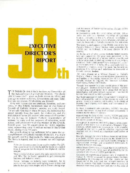 NCCW 50th Anniversary Director's Report