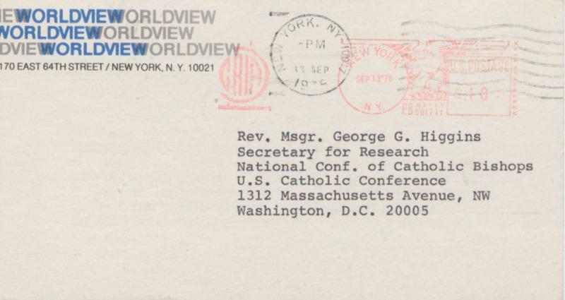 Richard Neuhaus to George Higgins 9-12-1978 (2)