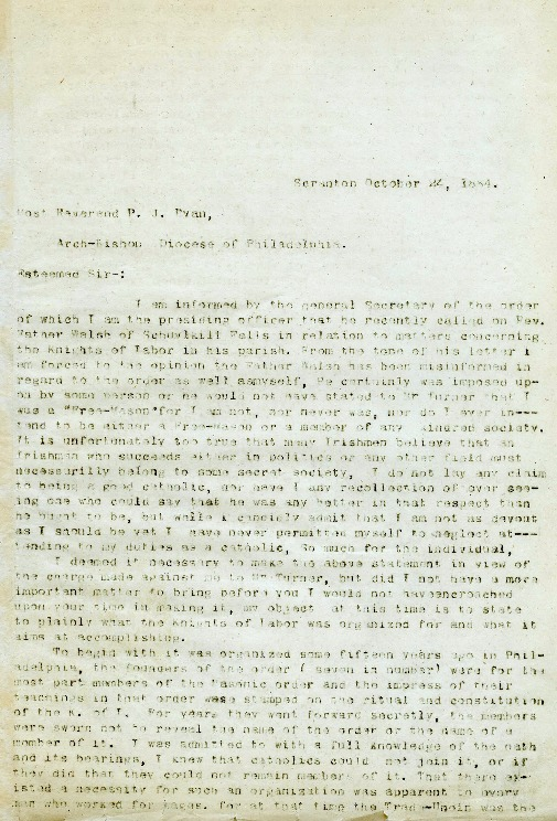 Letter to Archbishop Patrick John Ryan, October 24, 1884