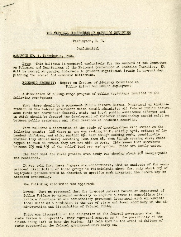 Confidential Memorandum: Bulletin No. 1, December 4, 1934