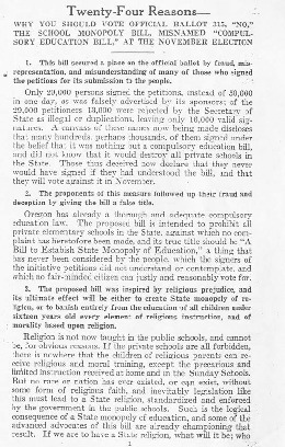 "Catholic Civil Rights Association of Oregon, ""Twenty-Four Reasons That You Should Vote Official Ballot 315,""No"","" 1922"