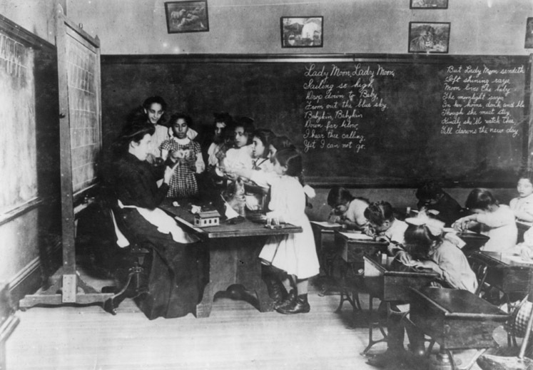Immigrant children at Hancock School in Boston, 1909<br />