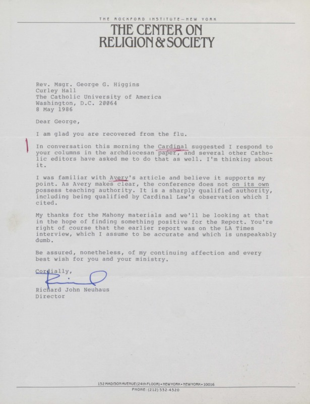 Richard Neuhaus to George Higgins, 5-8-1986 (12-2)