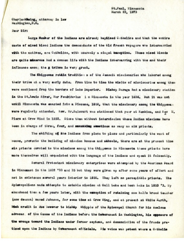 Letter from the Bishop of St. Paul to Charles Ewing, March 22, 1873