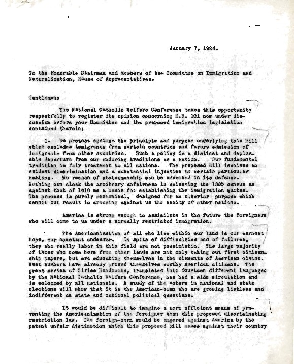 Letter from Bruce Mohler to House Committee on Immigration and Naturalization, January 7, 1924