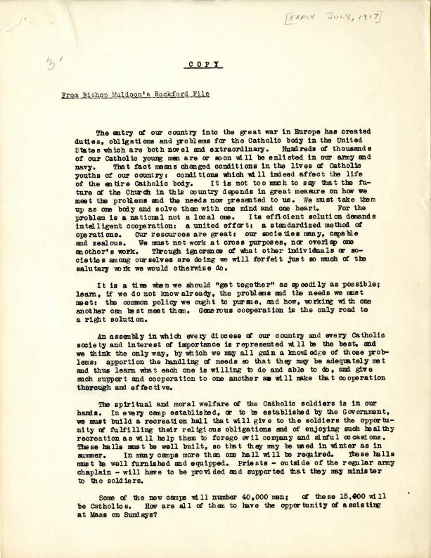 National Catholic War Council Formation