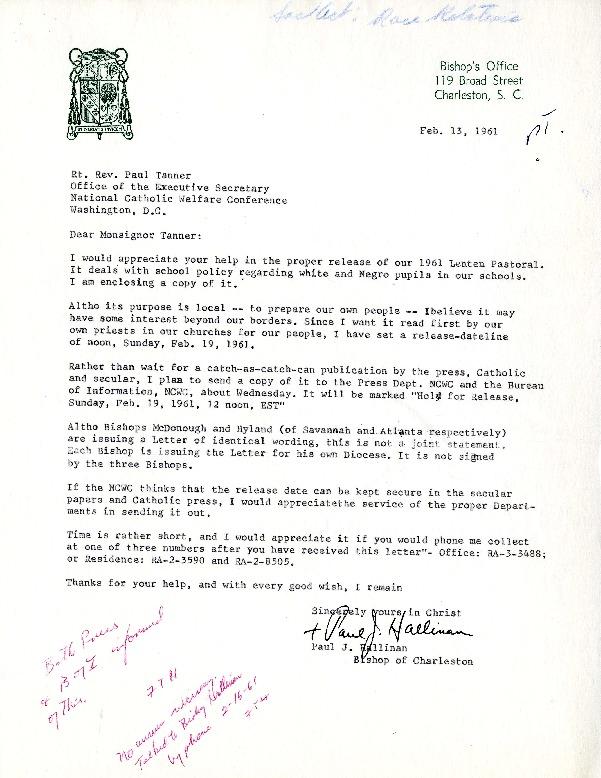 Pastoral Letter of Bishop Paul J. Hallinan of Charleston, South Carolina