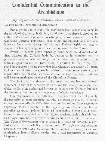 "Cardinal Gibbons, ""Confidential Communication to the Archbishops and Bishops,"" 1921"