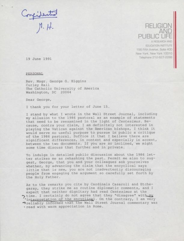 Richard Neuhaus to George Higgins 6-1991 (23)