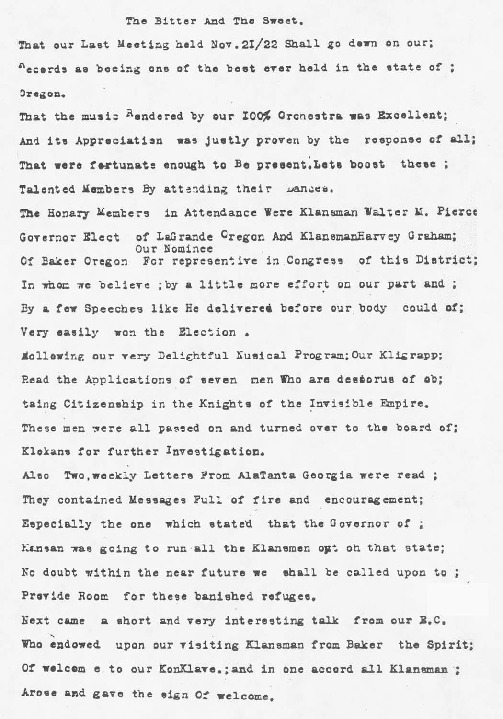 """""""The Bitter and The Sweet,"""" Minutes from the LaGrande KKK meeting, January 26, 1923"""