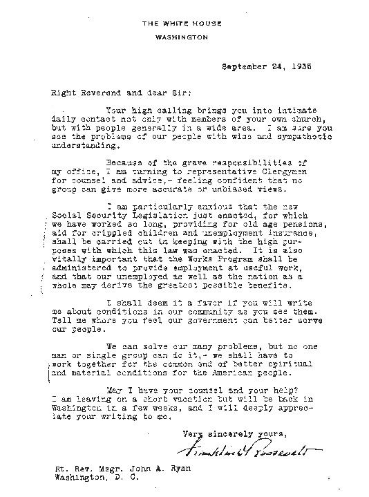 FDR to John A. Ryan, September 24, 1935; Ryan to FDR, September 24, 1935