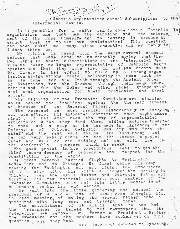"Thomas W. Turner, ""Draft of Editorial,"" December 31, 1932"