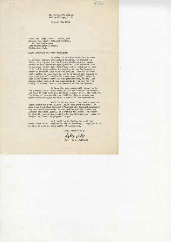 Letter from H.A. Reinhold to John J. Burke on German Refugees, October 23, 1936