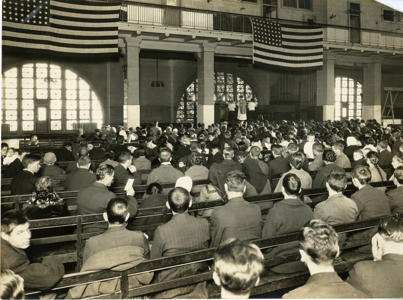 Assembly of Immigrants at Ellis Island