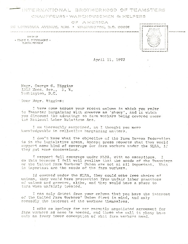 Letter from Frank Fitzsimmons to Monsignor Higgins