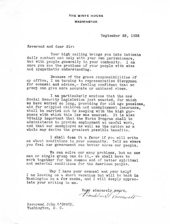Letter to Msgr. John O'Grady, September 23, 1935