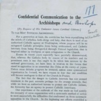 Letter from Bishop William Russell, Bishop of Charleston, South Carolina to all Archbishops