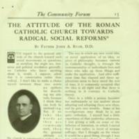 The Attitude of the Roman Catholic Church Towards Radical Social Reform