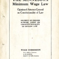 The Minnesota Minimum Wage Law, 1913