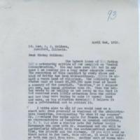 Letter from Rev. John J. Burke to Bishop Peter Muldoon, April 2, 1919