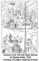 Cartoon from <em> The Old Cedar School</em> by George Estes, 1922