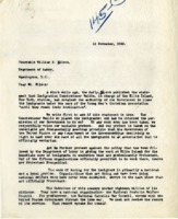 Letter from John Burke to Secretary of Labor William Wilson, November 11, 1920; and Reply from Assistant Secretary Louis Post, November 17, 1920